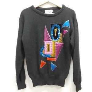 Vintage 80s Jessica Ltd. Black embellished sweater